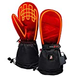 ActionHeat 5V Battery Heated Mittens – Ski Glove Mittens w/Faux Suede Palm, Polyester Lining for Warm Winter Hunting Skiing Hiking Camping