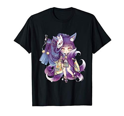 Süße Chibi Kitsune Kyoko mit Maske - Manga Anime Art T-Shirt