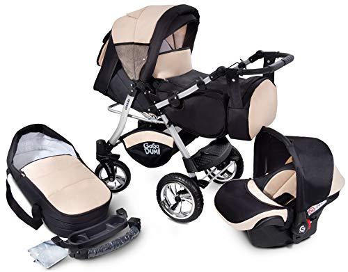 GaGaDumi Urbano Kombikinderwagen Kinderwagen Babyschale 3in1 System Autositz (U3-Sandy)