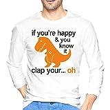 Zangcang T-Shirts pour Hommes Impression T-Rex Clap Your Hands Crew Neck T-Shirt à Manches Longues pour Hommes XXL