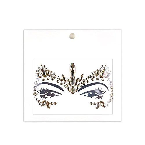 Wovemster Facial Gemstone Jewelry Set - Mascarade Facial Decoration DIY Bijoux Green Acrylic Diamond Face Sticker - Décoration pour Les Yeux Front Diamond Festival Party