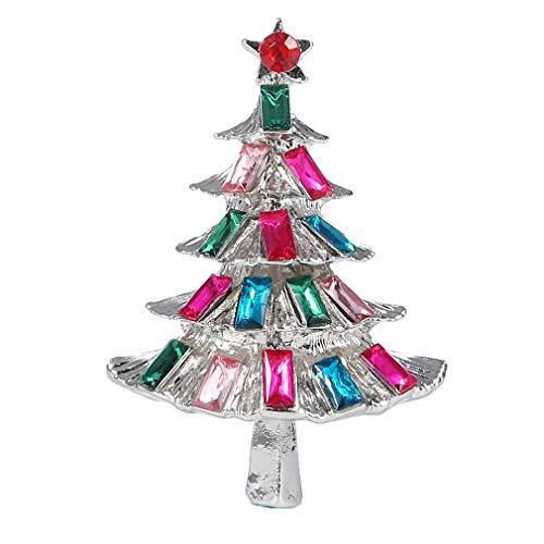 YAZILIND Multicolor Rhinestone árbol de Navidad Broche alfileres Navidad Regalo Mujer Fiesta...