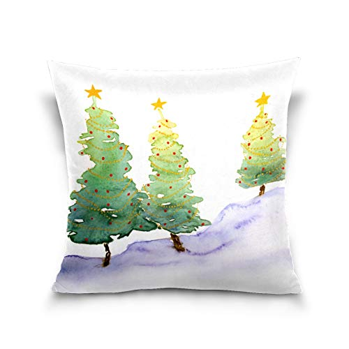 50 Cent Pillow Covers 20 x 20 Inches, Watercolor Christmas Trees Throw Pillow Cases with Zip, Home Decor Gifts for Farmhouse Holiday