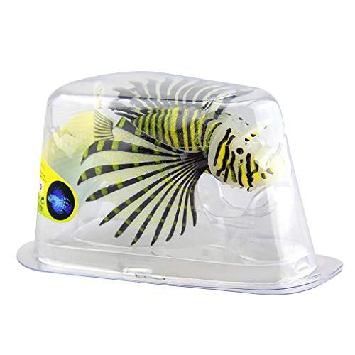 ben-gi Luminous Artificial Rotfeuerfisch Silikon Glühende Gefälschte Rotfeuerfisch Aquarium Landschaft Dekoration Schwarz