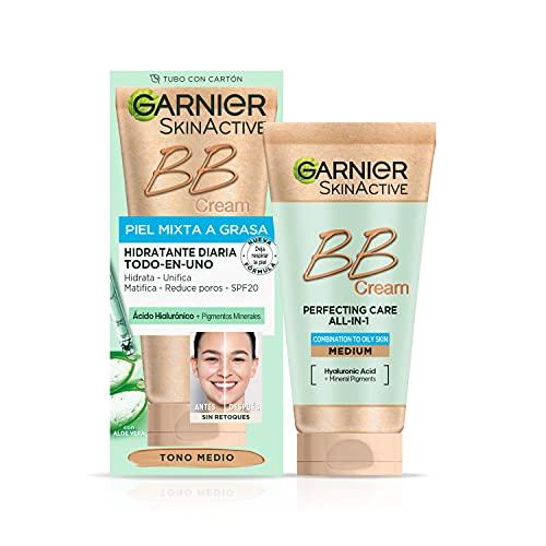 Garnier Skin Active - BB Cream (matificante para pieles mixtas a grasas, con SPF 25, Ácido Hialuronico, Extracto de Aloe Vera y Pigmentos Minerales, Hidrata, Unifica, Corrige e Ilumina piel) 50 ml
