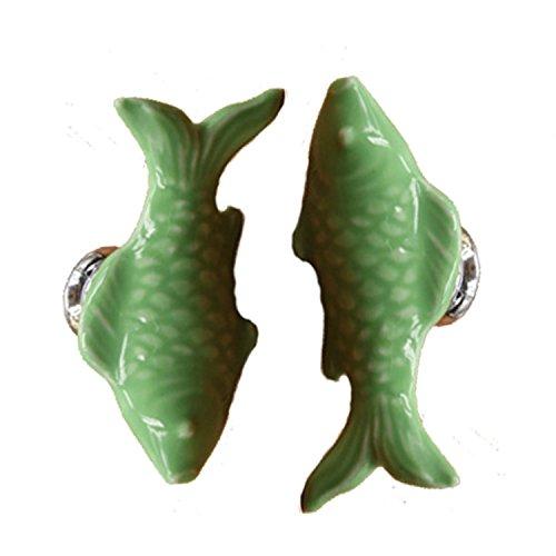 Fbshop(TM) - Due pomelli a forma di pesciolino, 55 mm in ceramica, divertenti e decorativi, per armadio/armadietto/guardaroba/cassettiera/bagno, 6 colori disponibili Green