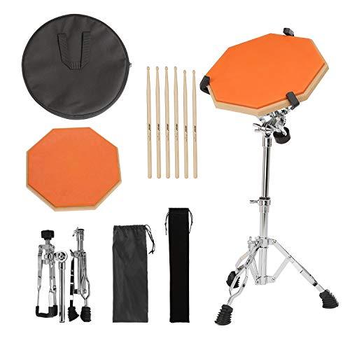 Drum Pad, AGPtEK Trommel Pad mit 3 Paar Drumsticks und verstellbarem Snare Drum Ständer, doppelseitiges Drum Pad für Anfänger und Profis