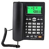 ASHATA Teléfono con Cable, identificador Llamadas, marcación rápida, teléfono Fijo, sin batería, Silencio, Pausa, último número, función de remarcación, para Oficina Negocios(Negro)