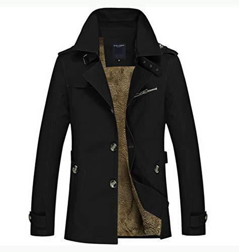 Lihua Frühling Herbst Winter Klassische Herren Mantel Thermische Fleece Windjacke Baumwollmantel M-5XL Oberbekleidung (Farbe : SCHWARZ, größe : XXXL)
