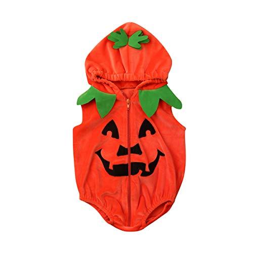 Infant Toddler Baby Boys Girls Halloween Pumpkin Costume Cute Outfits (6-12 Months,Pumpkin Hooded Romper)