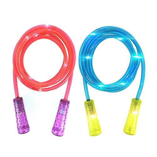 ANBET 2er Pack LED Glowing Springseil Länge verstellbar Light Up Springseil Glow in Dark für Jungen und Mädchen