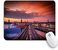 ECOMAOMI 可愛いマウスパッド サンセット、ガムラスタン、ストックホルム、スウェーデン 滑り止めゴムバッキングマウスパッドノートブックコンピュータマウスマット