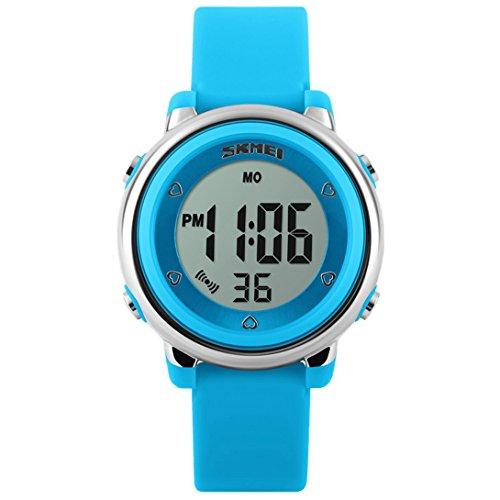 Panegy - Reloj Digital con LED de Colorido para Niños y Estudiantes-Color Azul