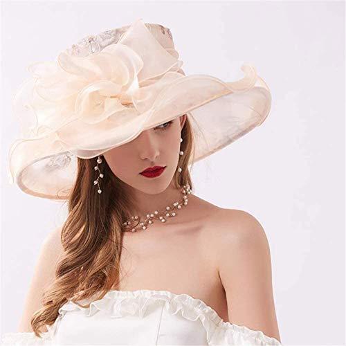 MJMJ hat Women Organza Sun Hats,Foldable Adjustable Wedding Bridal Flower 13cm Wide Brim Tea Party Kentucky Derby Spring Summer Cap sunhat(Color:Beige)