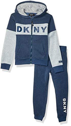 DKNY Boys' Little New York Fleece Hoody and Jog Pant, soho Dress Blues, 5
