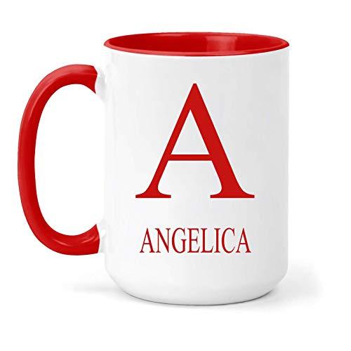 Taza con el nombre y la inicial de Angelica – Regalo en...