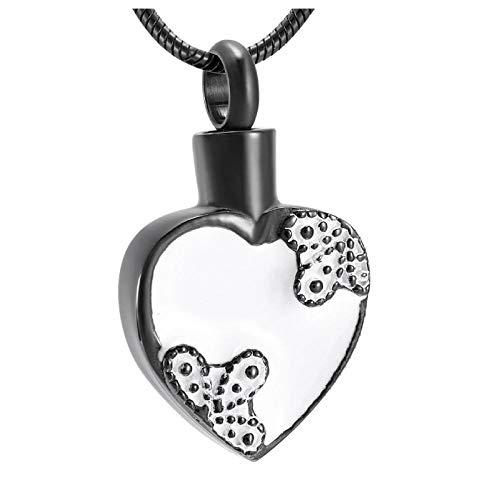 Collar Urna para Cenizas Negro con Blanco Gota De Pegamento Rosa En Corazón Joyería De Cremación Recuerdo Colgante Conmemorativo Urna Collar Flor