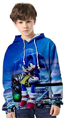 Silver Basic Niños Sonic The Hedgehog Traje de Sudadera con Capucha Sonic Adventure Teens Sudadera Impresa en 3D Sonic Poster Sudadera Jersey de Punto para Niños 160, 750Sonic&Luces-2