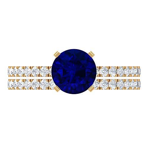 Anillo de compromiso de zafiro azul creado en laboratorio de 2,25 quilates con anillo de boda Moissanita (calidad de reliquia), oro amarillo de 14 quilates, tamaño: UK Z