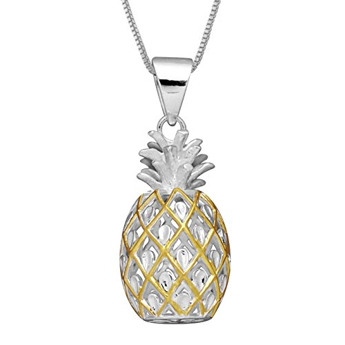 Sterling Silver with Yellow Gold Tone Accents Large Pineapple Pendant Necklace, 16+2 Extender