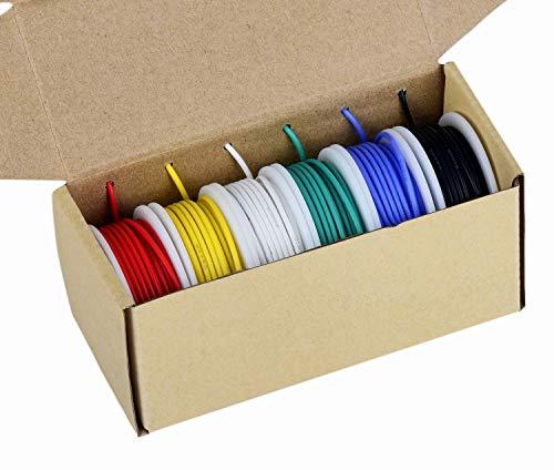 Cable de calibre 24, cable eléctrico Kit de alambre de silicona flexible de 24 AWG (6 bobinas de 9 metros de diferentes colores) Cable de conexión de 300 V de alta resistencia a la temperatura
