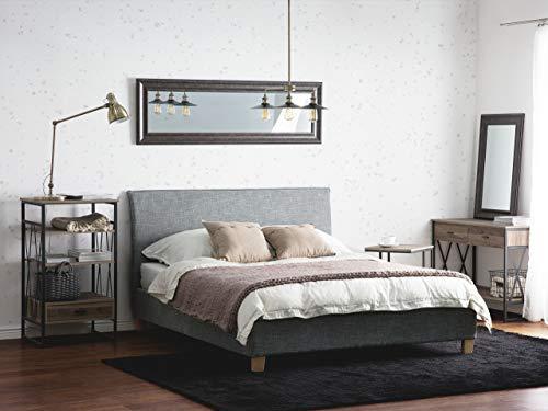 Beliani Cama tapizada en Color Gris 140x200 cm SENNEZ
