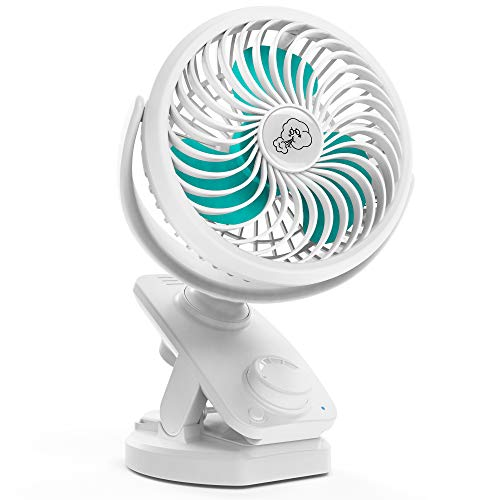 COMLIFE F170 Clip On Fan - Auto Oscillation Personal Fan - 5000 mAh Battery Operated Fan, USB Desk Fan Stepless Speeds Control, Powerful Airflow for Hurricane, Camping, Office, Car(White))