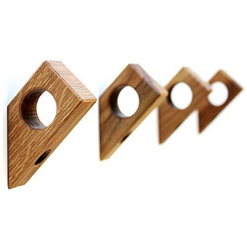 Kardamov Studio Wandhaken Holz 45° 4 Stück | Handgemachte Kleiderhaken aus Eiche in Berlin | Modern Wand Dekor 8cm groß mit Loch für Anhänger