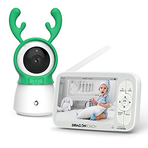 Dragon Touch Babyfoon met camera, video, babymonitor, bewakingscamera met 5 inch 720P HD-scherm, 300 m signaalbereik, 2-weg audio, met nachtzicht, temperatuursensor intercomfunctie