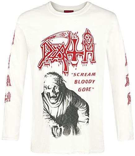 Death Scream Bloody Gore Hombre Camiseta Manga Larga Blanco Roto, Regular