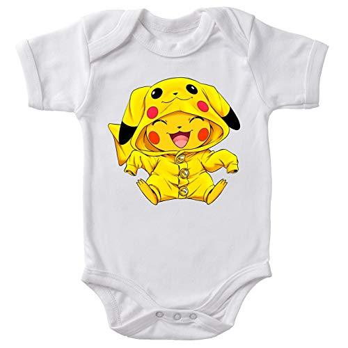 Body bébé manches courtes Blanc parodie Pokémon - Pikachu Cosplayé en... Pikachu ! - Imbattable dans les concours de Cosplay... :)(Body bébé de qualité supérieure de taille 3 mois - imprimé en Franc