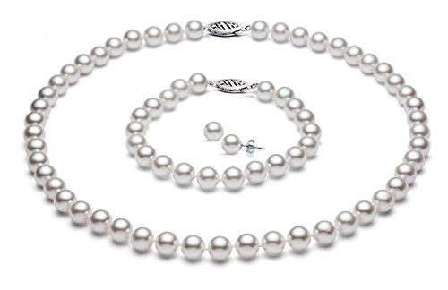 14k oro bianco giapponese bianco Akoya perle coltivate d'acqua salata set di qualità AA+ (6-6,5mm)