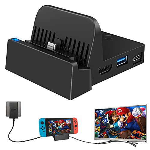 TV Docking Station for Nintendo Switch/Nintendo Switch OLED Model 2021, WEGWANG Portable Mini TV Dock Station with USB 3.0 Port Replacement for Official Nintendo Switch and Newest OLED Model 7-inch
