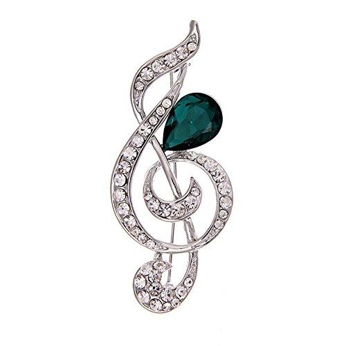 Belons Fashion Jewelry Treble Clef Music Note Drops Green Crystal Rhinestone Brooch Collar Pin for Women & Girls