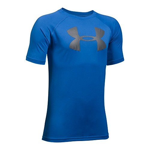 Under Armour Boys' Tech Big Logo T-Shirt, Ultra Blue /Graphite, Youth X-Large