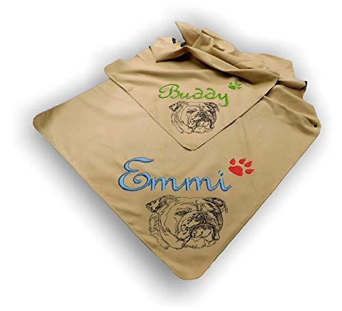 LunaChild Hundehandtuch Microfaser Handtuch Hund bestickt mit Wunschnamen Name Englische English Bulldogge 2 Ultra saugfähig schnell trocknend