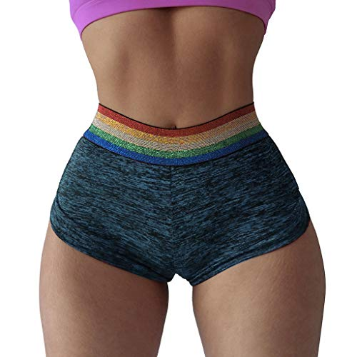 BCDshop_Shorts Clearance Women's Casual Rainbow Elastic Waist Color Block Sport Yoga Shorts Skinny Sexy Hot Pants (M, Blue)