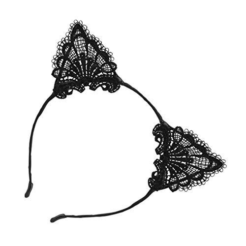 DEjasnyfall Lady Girls Cute Kitten Kostüm Ohr Spitze Haarbänder Mode Stirnbänder Kopfbedeckung Haar Kopfband Zubehör Ideal für Party Schwarz