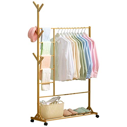 Bamboo Coat Rack with 6 Side Hook Tree Stand Coat Hanger, 1 Simple Clothing Standard Rod and 5-Tier Trouser Pants Shelves, with Wheel and Bottom Shelves