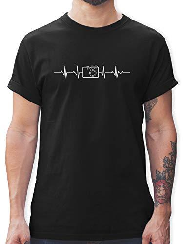 Symbole - Herzschlag Foto Kamera - XXL - Schwarz - Fotografie+t-Shirt+Herren - L190 - Tshirt Herren und Männer T-Shirts