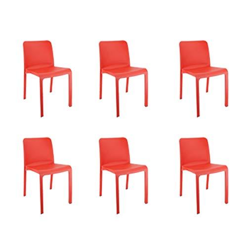 Shaf 55432 Grana | Set 6 Sillas Jardin de Color Rojo | Fabricado en España con Materiales Reciclados, Unidades
