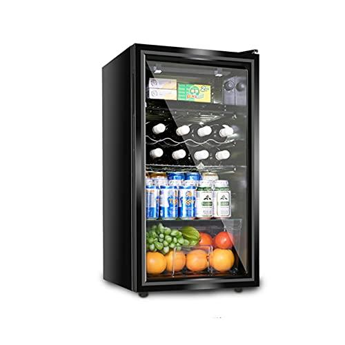MIAOYO Vinoteca con Puerta De Cristal,Mini Refrigerador De Vino,Bebida Vinoteca,Operación Silenciosa Función De Memoria Temporal Vinoteca,Negro,45x45x83.1cm