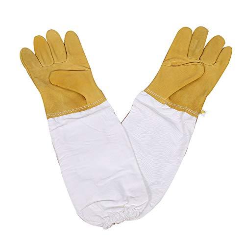 Vientiane Bienenzucht Handschuhe, Ziegenleder Schutzhandschuhe Langarm Langlebig Perfekt für den Anfänger Beekeeper (Gelb)
