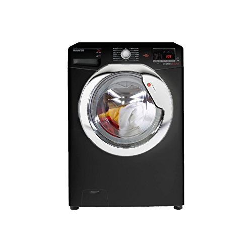 Hoover DXOC67C3B Washing Machine Glossy Black with Chrome Door and Handle 7 Kilogram Capacity 1600rpm Spin Speed A Plus Plus Plus Energy Rating A Wash Performance Digital Display 12 Programmes