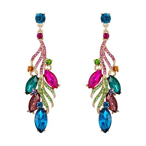 Pendientes de Mujer - Clearine Aretes Forma de Lágrima Gota de Agua, Cristal Estilo Precioso para Boda Novia Fiesta Multicolor
