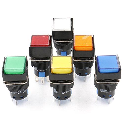 Heschen Quadratischer Druckknopfschalter, 16 mm, 1 NO, 1 NC, Rot, Grün, Orange, Blau, Gelb, Weiß, 12 V LED-Lampe.