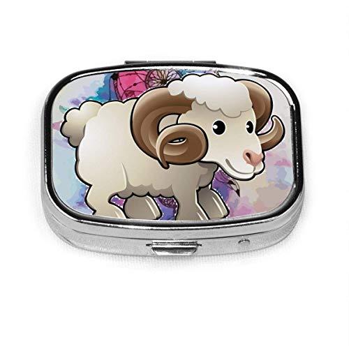 Cute Ram Sheep Fashion Square Pill Box Vitamin Medicine Tablet Holder Wallet Organizer Case