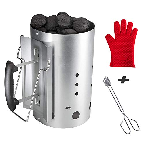 BBQ Future Chimney Starter Charcoal Lighter Chimney with Heat Resistant Silicone Glove, Stainless...