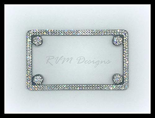 Bling Motorcycle License Plate Frame made with Swarovski Crystals - Motorcycle Jewelry -  RVMdesigns
