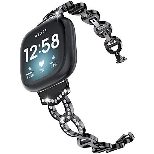 Glebo Correa de metal compatible con Fitbit Versa 3 / Fitbit Sense para mujer, con diamantes de imitación de metal, para reloj inteligente Fitbit Versa 3/Sense Watch, color negro